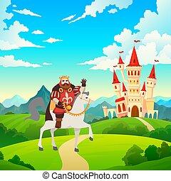 King on horseback. Prince rides to castle on horse on medieval mansion landscape, illustration for child fairytale, cartoon flat vector image