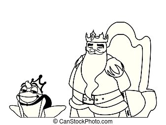 king on throne with toad prince characters