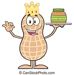 King Peanut Cartoon Character Holding A Jar Of Peanut Butter