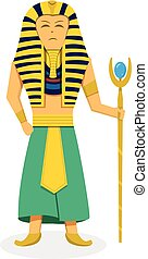 King Pharaoh on white in flat style, vector design