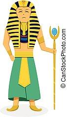King Pharaoh on white in flat style, vector design