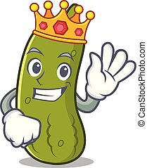 King pickle mascot cartoon style vector illustration