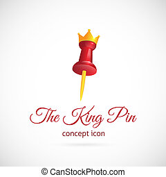 King pin abstract vector symbol icon