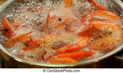 King Prawns Boiling in a Saucepan. Seafood in Thailand. Koh...