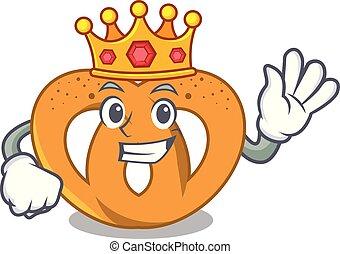 King pretzel mascot cartoon style