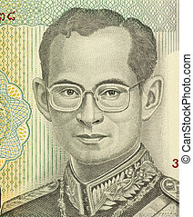 King Rama IX (born 1927) on 20 Baht 2011 Banknote from Thailand. King of Thailand.