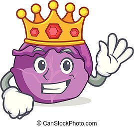 King red cabbage mascot cartoon