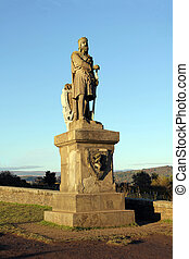 Weatherworn statue of Scottish King Robert The Bruce at Stirling Castle Scotland