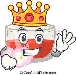 King rosehip tea in the character shape vector illustration