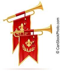 king royal golden horn trumpet vector illustration