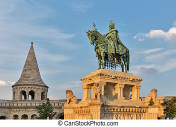 King Saint Stephen I statue in Buda Castle. Budapest, Hungary.