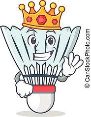King shuttlecock character cartoon vector art illustration