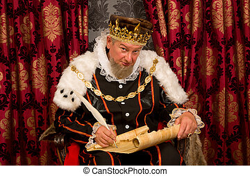 King signing new law - Old king signing a new law with a...