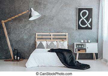 king-size, ベッド, 寝室