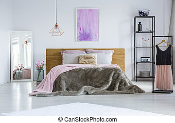 King-size bed and elegant dress - Simple, white bedroom...