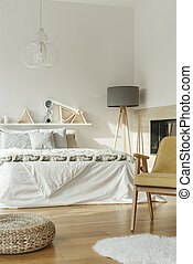 King-size bed in bedroom interior