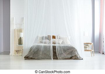 King Size, Bett, Unter, Baldachin