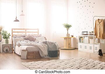 king-size, cama, dormitorio