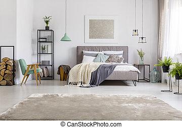 king-size, cama, quarto