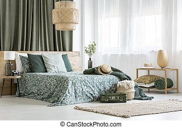 king-size, säng, med, blommig, bedsheets