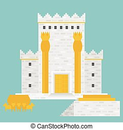 King Solomon's temple (Beit HaMikdash in hebrew name) with large basin call Brazen Sea and  bronze altar, flat design vector illustration
