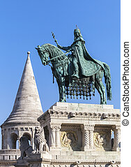 King Stephen horse statue in Budapest