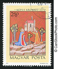 King Stephen - HUNGARY - CIRCA 1971: stamp printed by...