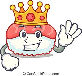 King sushi salmon mascot cartoon