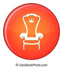 King throne chair icon, flat style