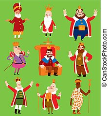 King vector illustration set. Fantasy royalty medieval cartoon monarch fun comic set. Fairytale prince costume kings different kingdom male character with gold crown and throne