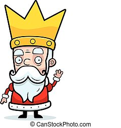 King Waving - A little cartoon king in a crown waving.