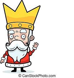 A little cartoon king in a crown waving.