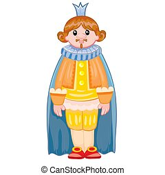 king with a crown in the mantle, doll, cartoon illustration, isolated object on a white background, vector illustration,