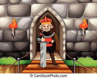 King with big sword at palace