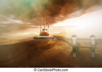 KINGDOM - A fairytale castle with its bridge.