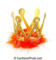 kingdom - Kingdom with golden crown and orange isolated over...