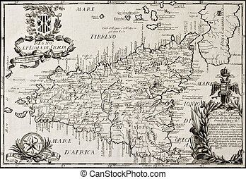 Kingdom of Sicily map - Old map of Sicily and little islands...