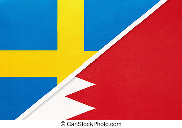 Kingdom of Sweden and Bahrain, symbol of national flags from textile. Relationship, partnership and championship between European and Asian countries.