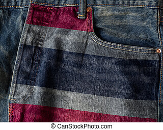 Kingdom of Thailand flag On Jeans Denim Texture. The concept of Kingdom of Thailand national flag on denim Jeans background. Ideal for Thailand Textile Industry Or Politics Concept.
