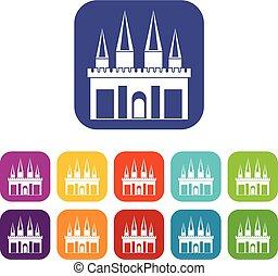 Kingdom palace icons set flat