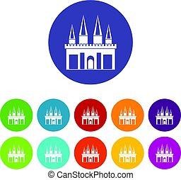 Kingdom palace icons set flat vector