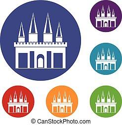 Kingdom palace icons set