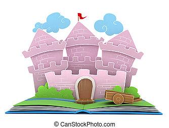 Kingdom Story - 3D Illustration of a Castle on Popup Book