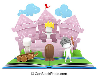 Kingdom Story - 3D Illustration of Kids Playing in a Castle...