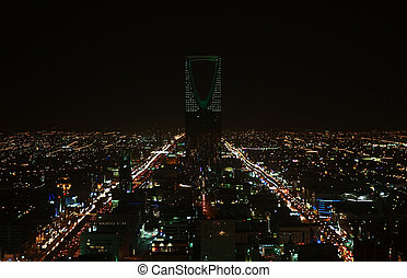 Kingdom tower - Night view of the Kingdom tower in the...