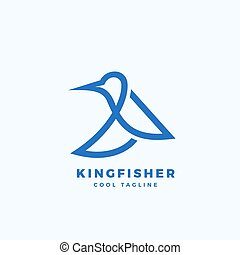 Kingfisher Bird Abstract Vector Icon, Label or Logo Template. Line Style Minimalistic Silhouette.