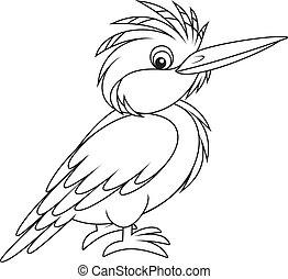 Kingfisher - halcyon, black and white illustration