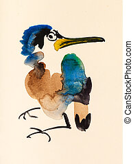 kingfisher hand painted on cream colored paper - training...