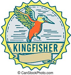 Kingfisher Side Rosette Retro - Illustration of a Kingfisher...