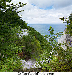 The Koenigsstuhl, Kings Chair, is the best-known chalk cliff on the Stubbenkammer in the Jasmund National Park on the Baltic Sea island of Ruegen.
